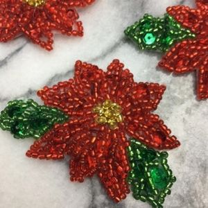Brand New 10 pack Iron on Poinsettia flowers !